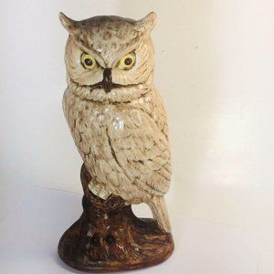 Large Ceramic Owl Mid-Century Hand Painted aprox.